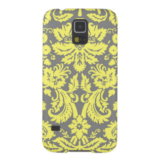 Yellow and Grey Fancy Damask Patterned Galaxy S5 Cases