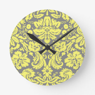 Yellow and Grey Fancy Damask Patterned Round Clock