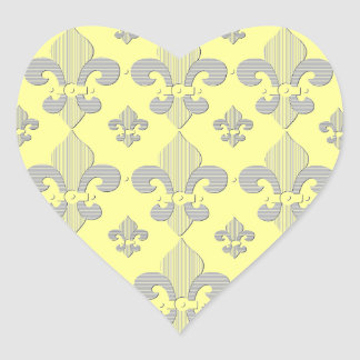 Yellow and Grey Fleur de Lys Design Sticker