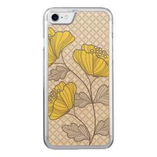 Yellow and Grey Florals Carved iPhone 8/7 Case
