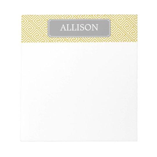 Yellow and Grey Greek Key Pattern Notepad
