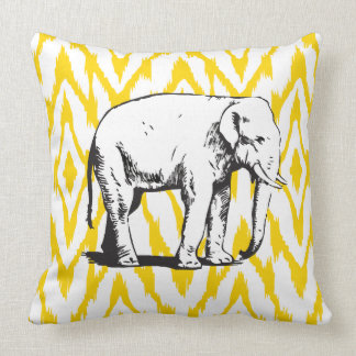 Yellow and grey Ikat White Elephant Pillow