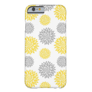 Yellow and Grey Peony Floral Pattern Barely There iPhone 6 Case