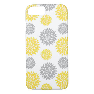 Yellow and Grey Peony Floral Pattern iPhone 7 Case