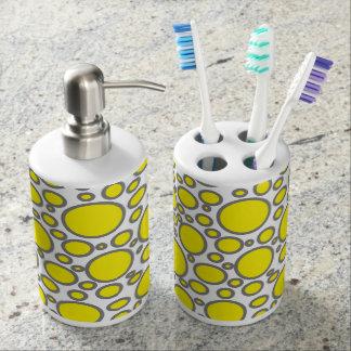 Yellow and Grey Polka Dots Bath Set