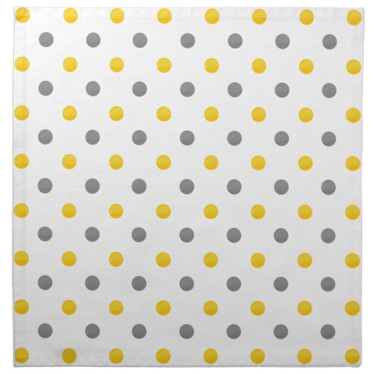 Yellow and Grey Polka Dots Napkin