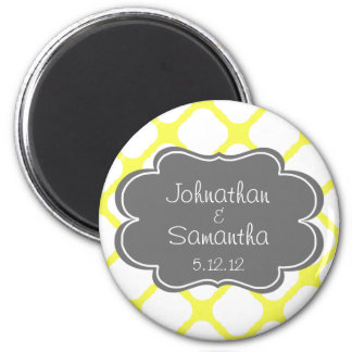 Yellow and Grey Save the Date 2 Inch Round Magnet