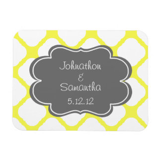 Yellow and Grey Save the Date Rectangular Photo Magnet