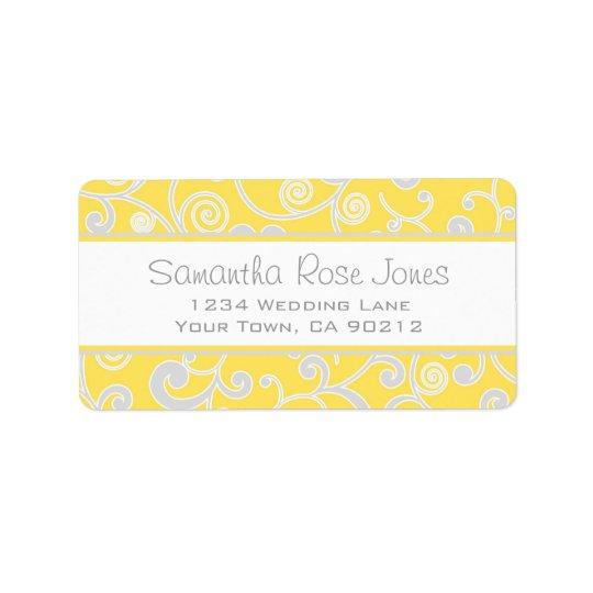 Yellow and Grey Scroll Custom Address