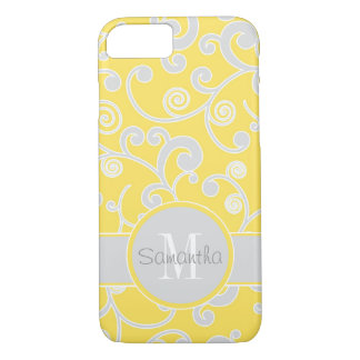 Yellow and Grey Scroll Design Custom Monogram iPhone 7 Case