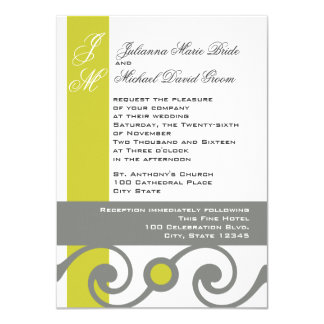 Yellow and Grey Scroll Work 4.5x6.25 Paper Invitation Card