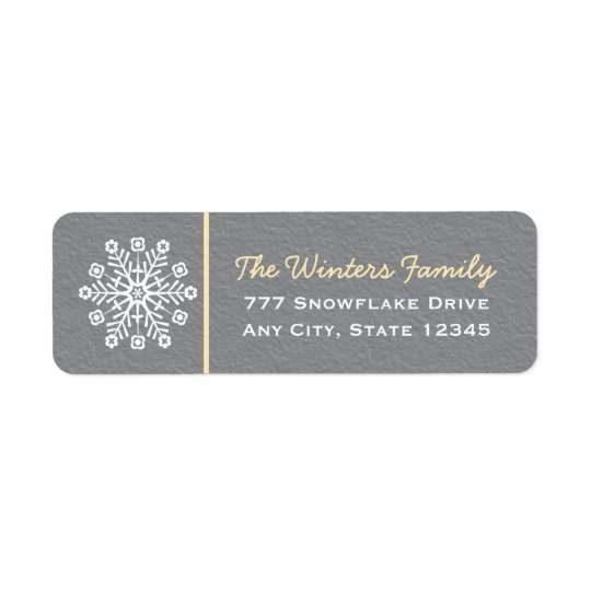 Yellow and Grey Snowflake Return Address Labels