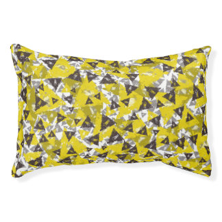 Yellow And Grey Triangle Small Dog Bed
