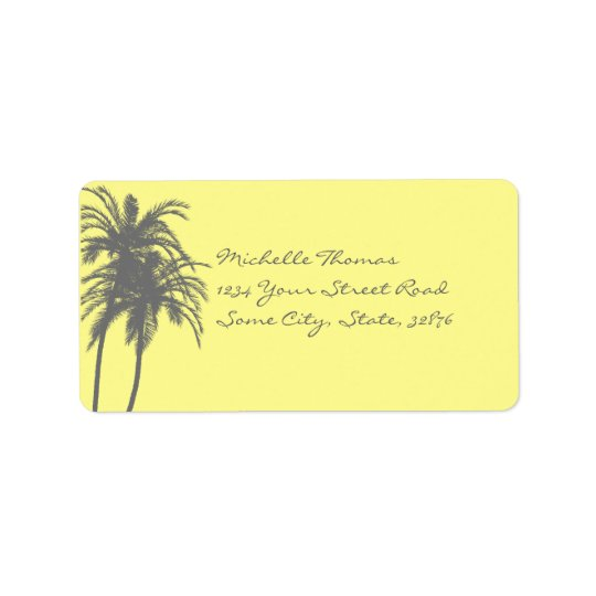 Yellow and Grey Tropical Palms Return Address Label