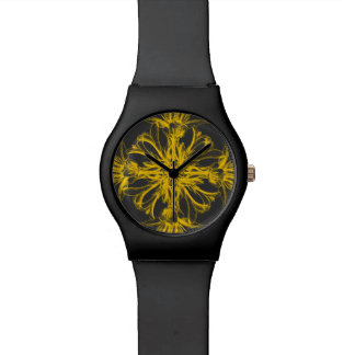 Yellow and Grey Vintage Damask Floral Watch