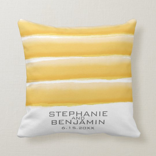 Yellow and Grey Watercolor Stripes Wedding Throw Pillow