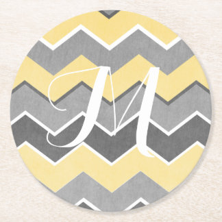 Yellow and Grey Zig Zag Pattern Round Paper Coaster