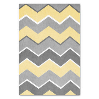 Yellow and Grey Zig Zag Pattern Tissue Paper