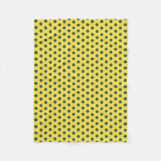 Yellow and Hunter Green Polka Dot Fleece Blanket