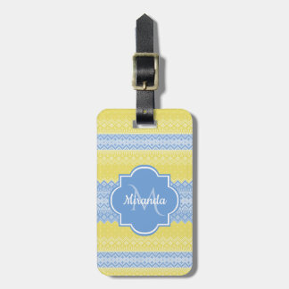 Yellow and Light Blue Knit Pattern With Monogram Luggage Tag