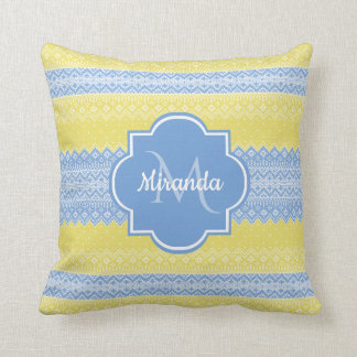 Yellow and Light Blue Knit Pattern With Monogram Throw Pillow