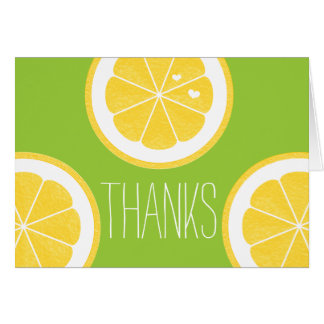 YELLOW AND LIME GREEN LEMON HEART SEED THANK YOU NOTE CARD