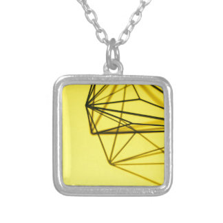Yellow and Metal Geometric Design Silver Plated Necklace