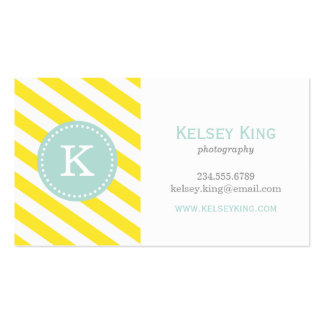 Yellow and Mint Chevron Stripes Monogram Pack Of Standard Business Cards