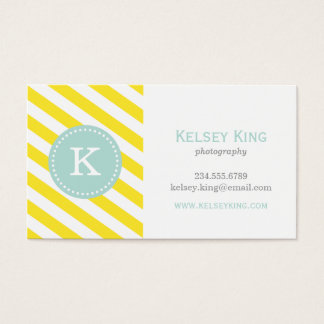 Yellow and Mint Chevron Stripes Monogram Business Card