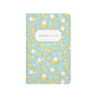 Yellow and Mint Chic Vintage Floral Print Monogram Journals