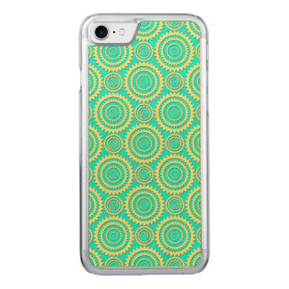 Yellow and Mint Green Geometric Circles Pattern Carved iPhone 7 Case