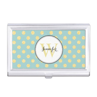 Yellow and Mint Polka Dots Pattern Monogrammed Business Card Holder