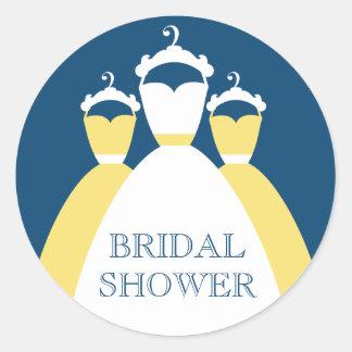 Yellow And Monaco Blue Bridal Shower Gift Seals Round Sticker