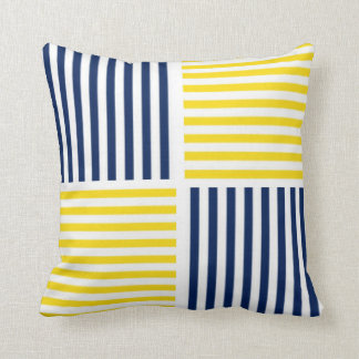 Yellow and Navy Blue Nautical Stripe Pillow