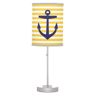 Yellow and Navy Nautical Stripes and Anchor Table Lamp