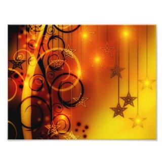 Yellow and Orange Abstract Design Stars Spirals Photo Print