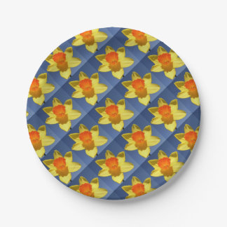 Yellow and Orange Colored Daffodil Paper Plate