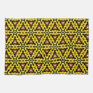 Yellow and Orange Filigree Triangle Pattern Kitchen Towel