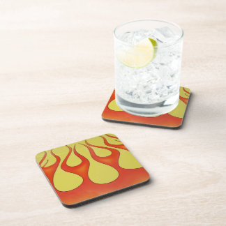 Yellow and orange flames that are bright drink coasters