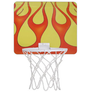 Yellow and orange flames that are bright mini basketball hoop