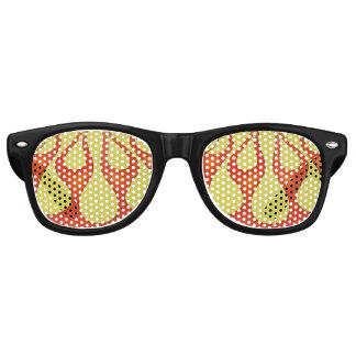 Yellow and orange flames that are bright retro sunglasses