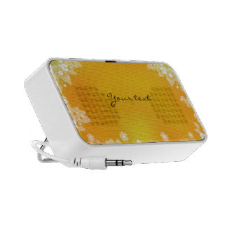 Yellow and orange flourishes speaker
