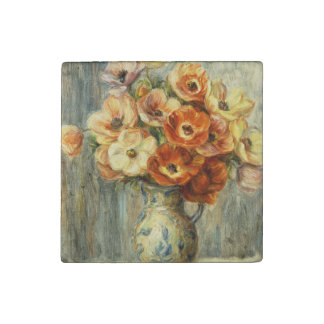 YELLOW AND ORANGE FLOWERS BY RENOIR STONE MAGNETS