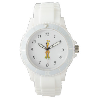 Yellow and orange happy cartoon giraffe watch
