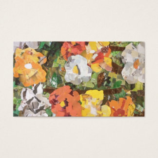 Yellow and orange paper flowers Business Cards