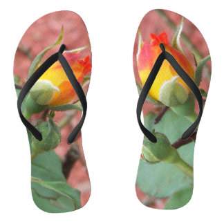 yellow and orange rose bud for your feet flip flops