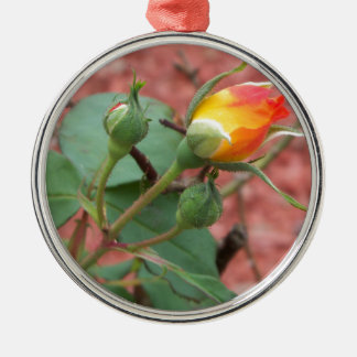 yellow and orange rose bud metal ornament