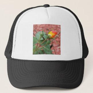 yellow and orange rose bud trucker hat