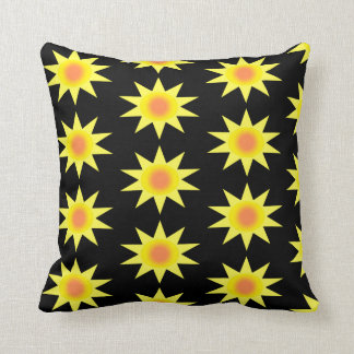 Yellow And Orange Sunbursts On A Black Background Throw Pillow