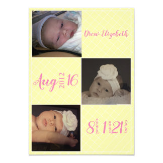 Yellow and Pink Blocks Birth Announcement